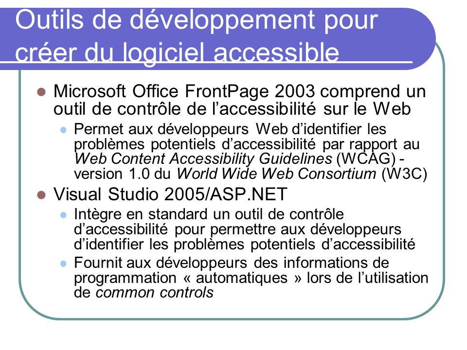 Outils de développement pour créer du logiciel accessible
