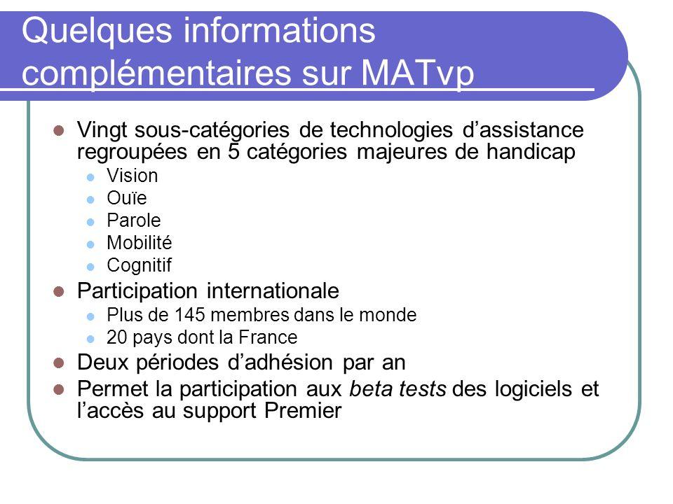 Quelques informations complémentaires sur MATvp