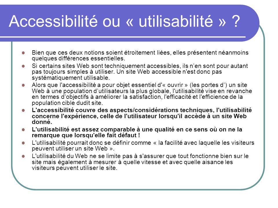 Accessibilité ou « utilisabilité »