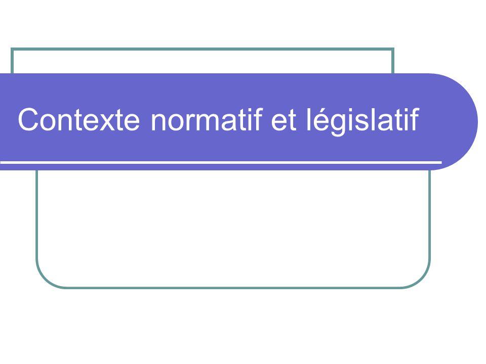 Contexte normatif et législatif