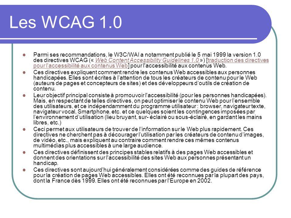 Les WCAG 1.0
