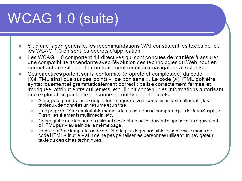 WCAG 1.0 (suite) Si, d'une façon générale, les recommandations WAI constituent les textes de loi, les WCAG 1.0 en sont les décrets d'application.