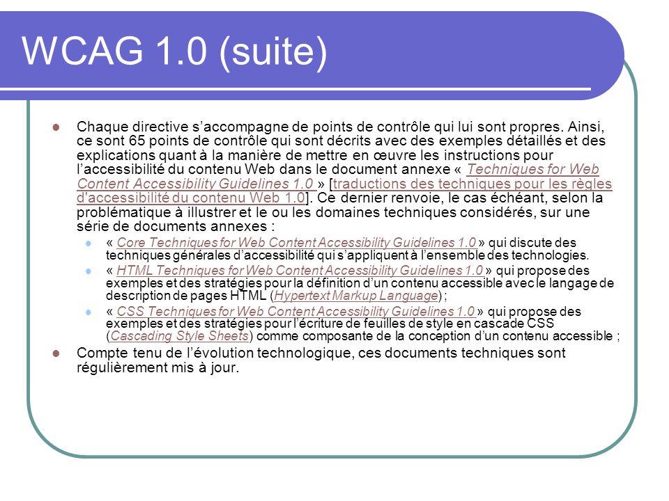 WCAG 1.0 (suite)