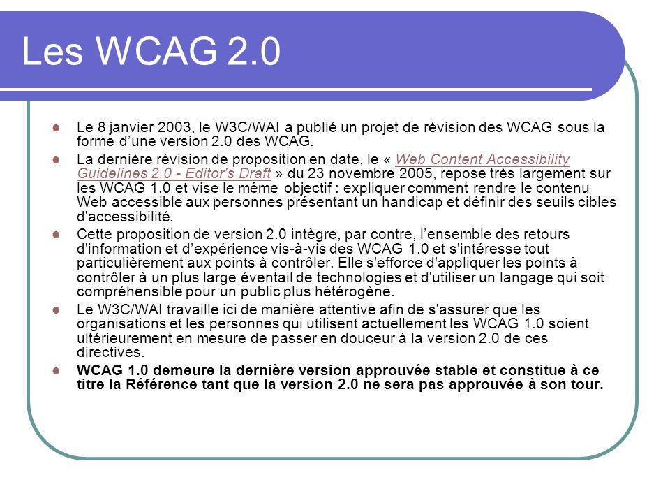 Les WCAG 2.0Le 8 janvier 2003, le W3C/WAI a publié un projet de révision des WCAG sous la forme d'une version 2.0 des WCAG.