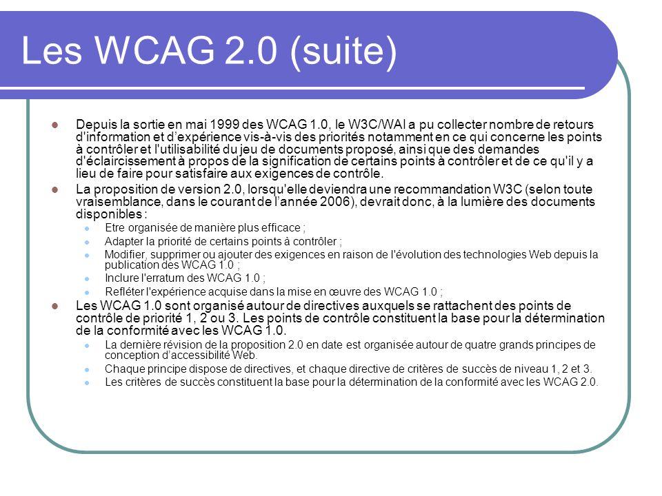 Les WCAG 2.0 (suite)