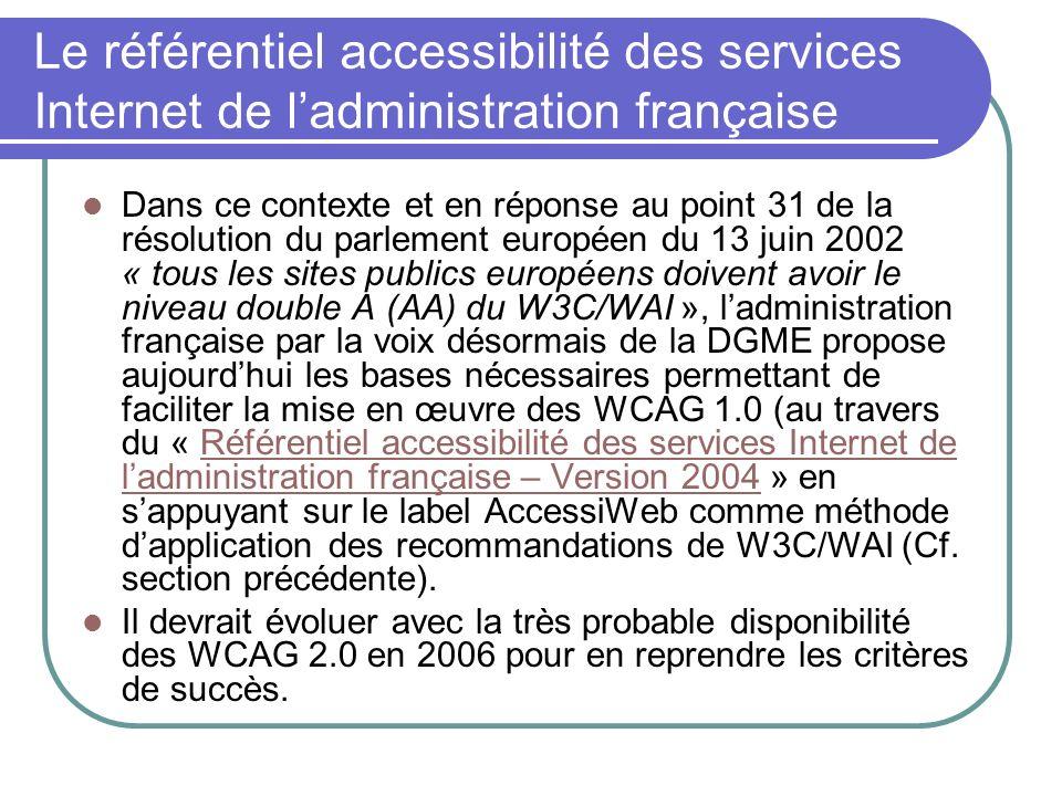 Le référentiel accessibilité des services Internet de l'administration française