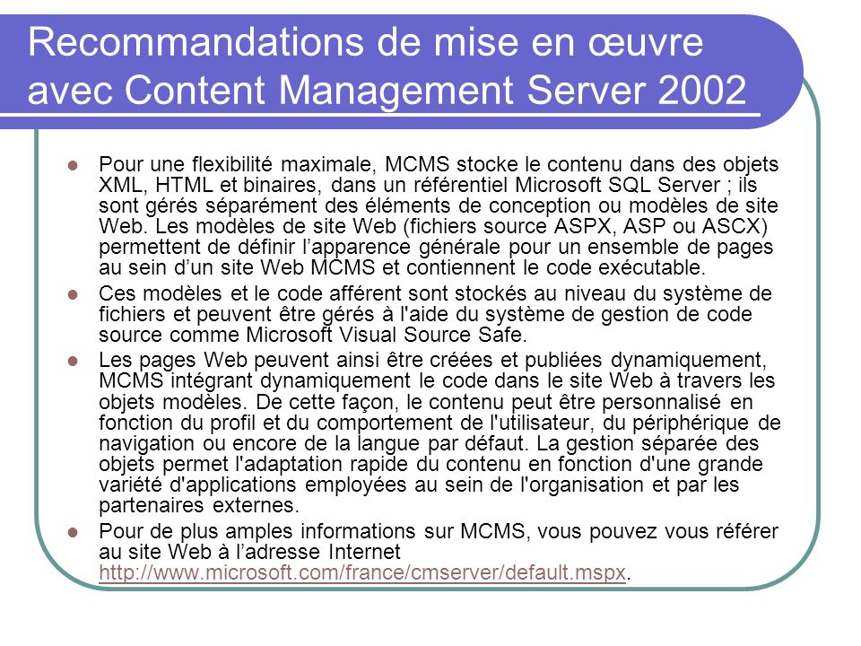 Recommandations de mise en œuvre avec Content Management Server 2002