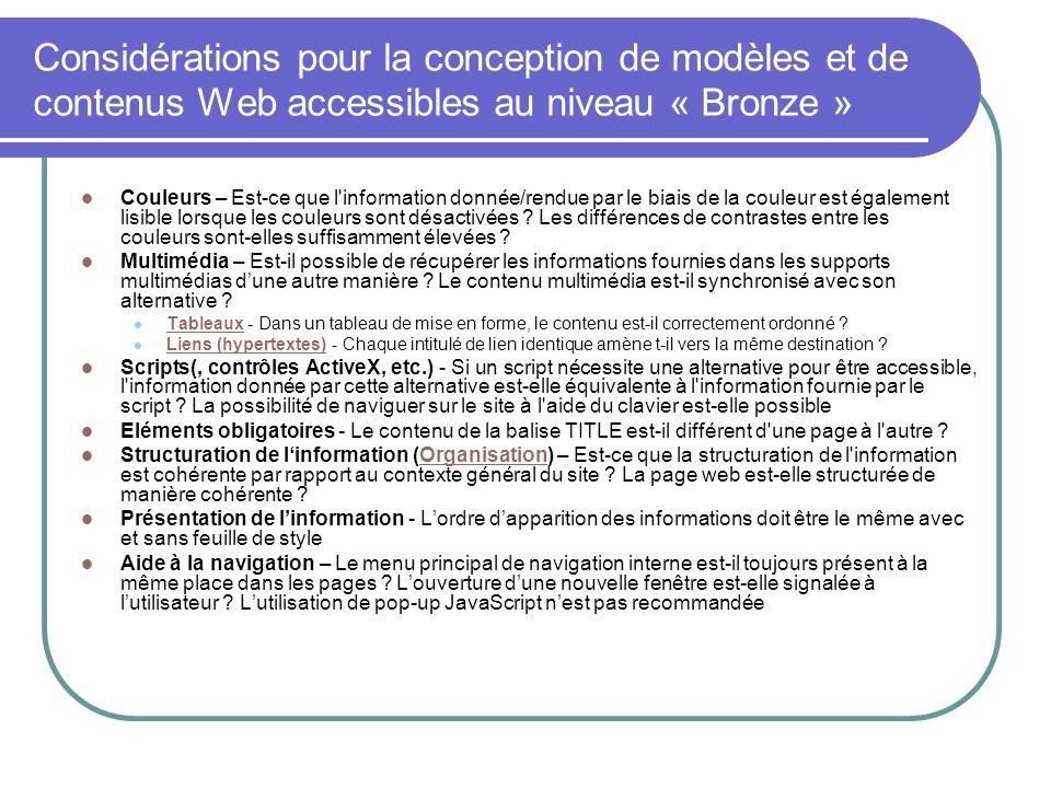 Considérations pour la conception de modèles et de contenus Web accessibles au niveau « Bronze »