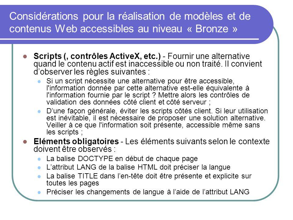 Considérations pour la réalisation de modèles et de contenus Web accessibles au niveau « Bronze »