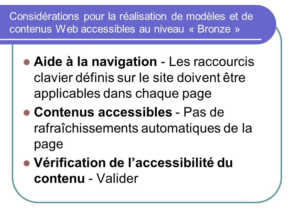 Vérification de l'accessibilité du contenu - Valider