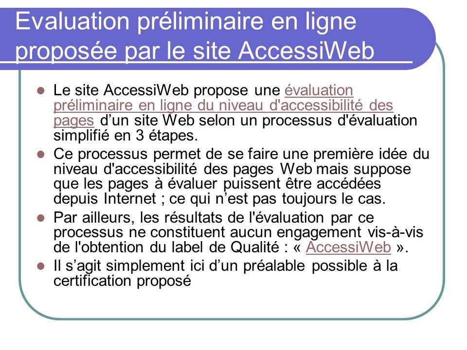 Evaluation préliminaire en ligne proposée par le site AccessiWeb