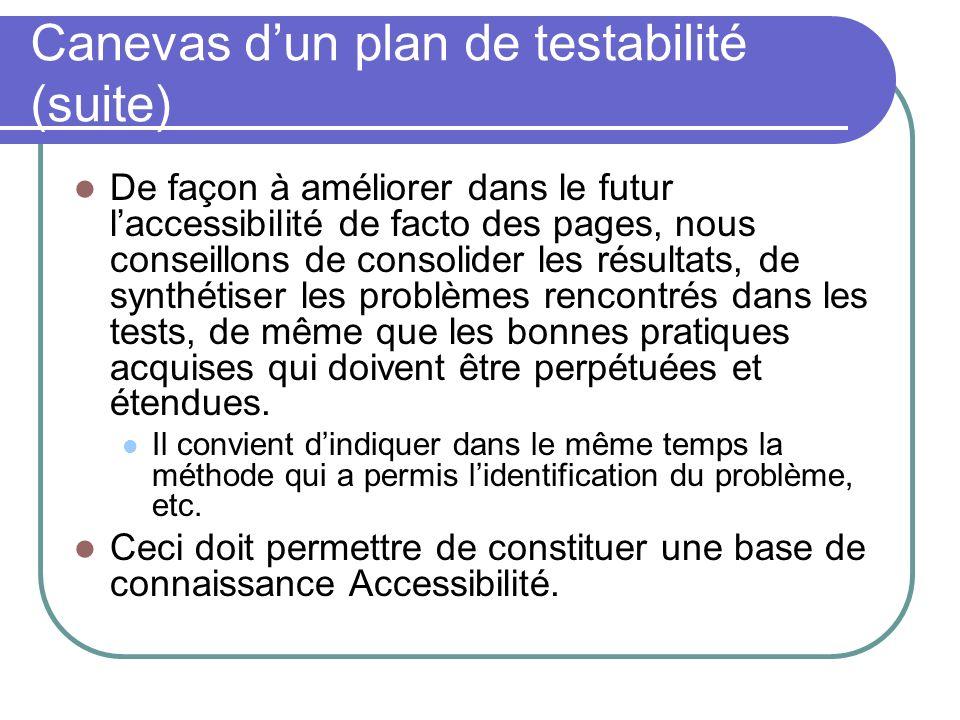 Canevas d'un plan de testabilité (suite)