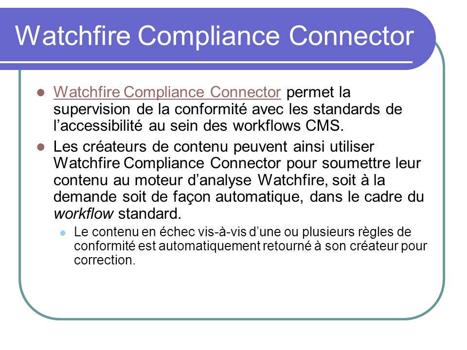 Watchfire Compliance Connector