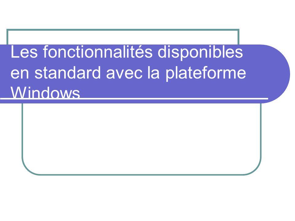 Les fonctionnalités disponibles en standard avec la plateforme Windows