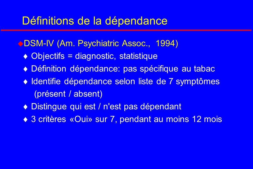 Définitions de la dépendance
