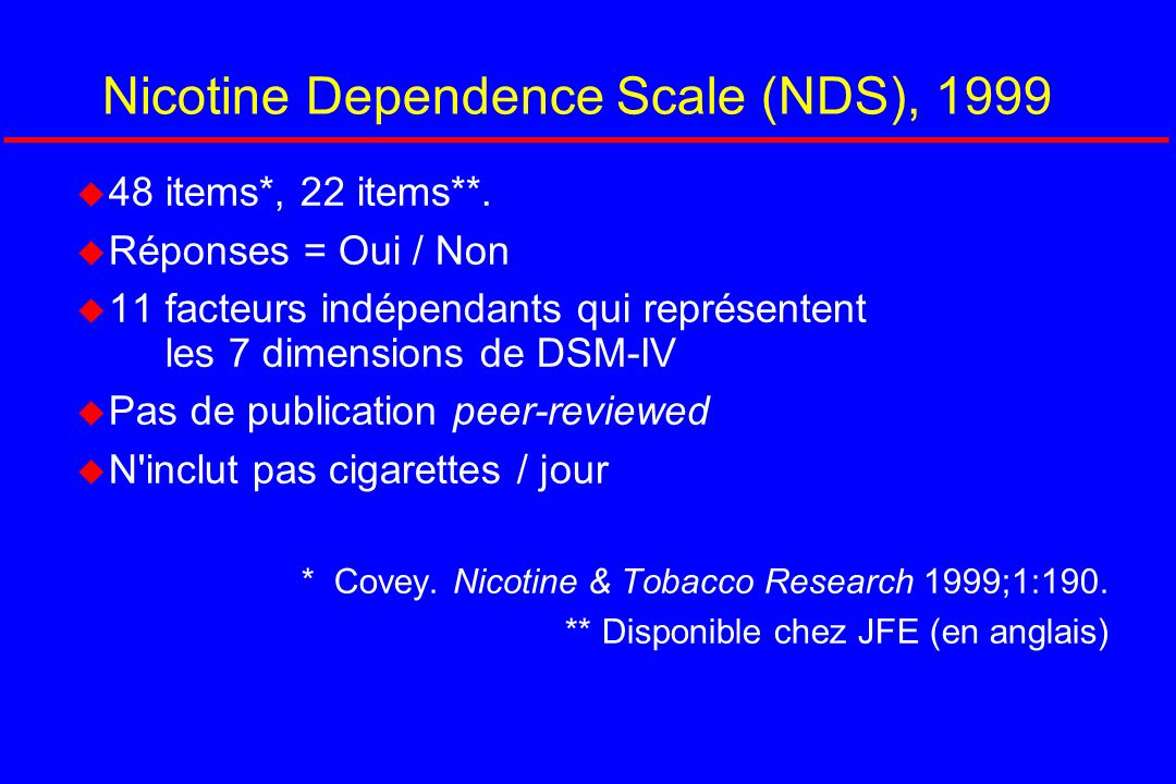 Nicotine Dependence Scale (NDS), 1999