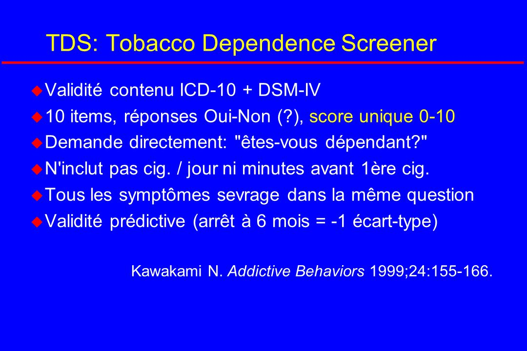 TDS: Tobacco Dependence Screener