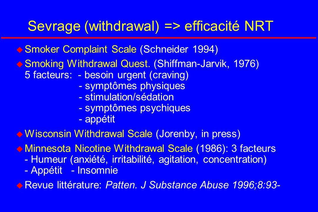 Sevrage (withdrawal) => efficacité NRT