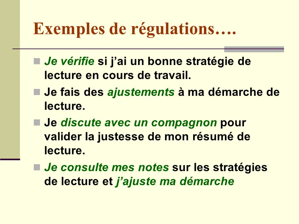 Exemples de régulations….