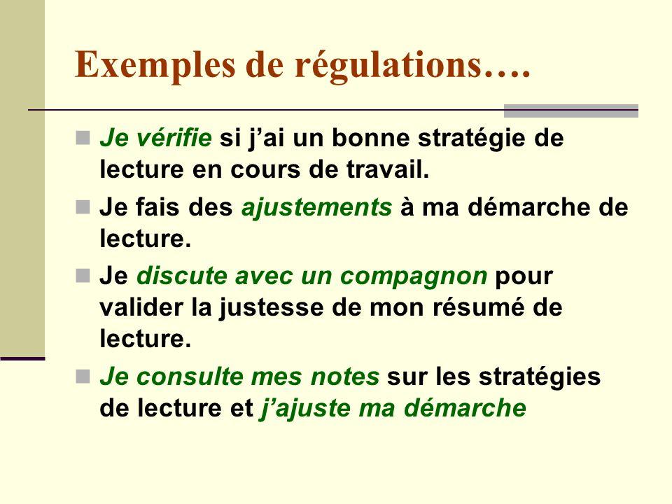 Exemples de régulations….