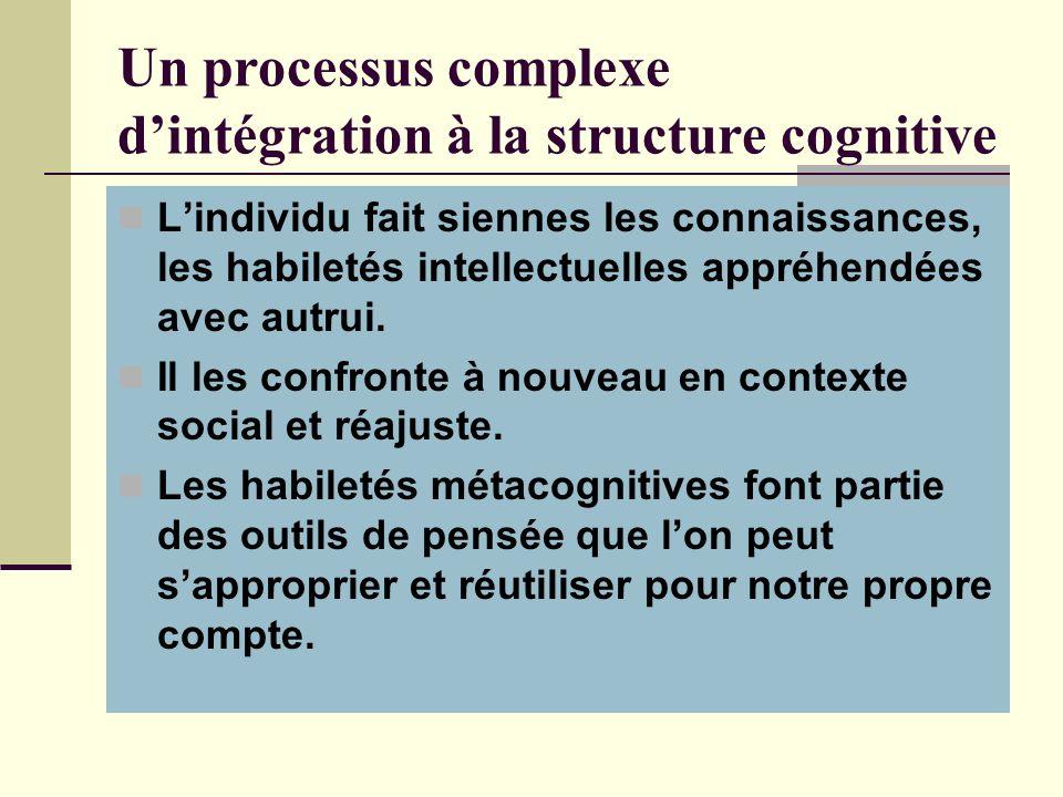 Un processus complexe d'intégration à la structure cognitive
