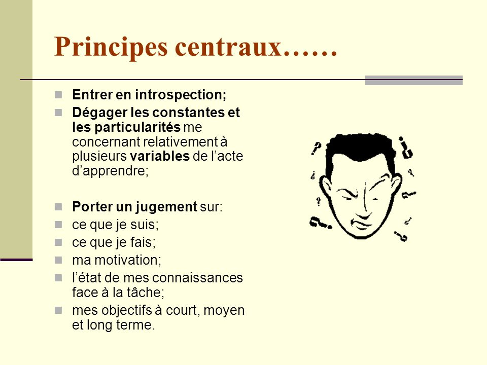 Principes centraux…… Entrer en introspection;