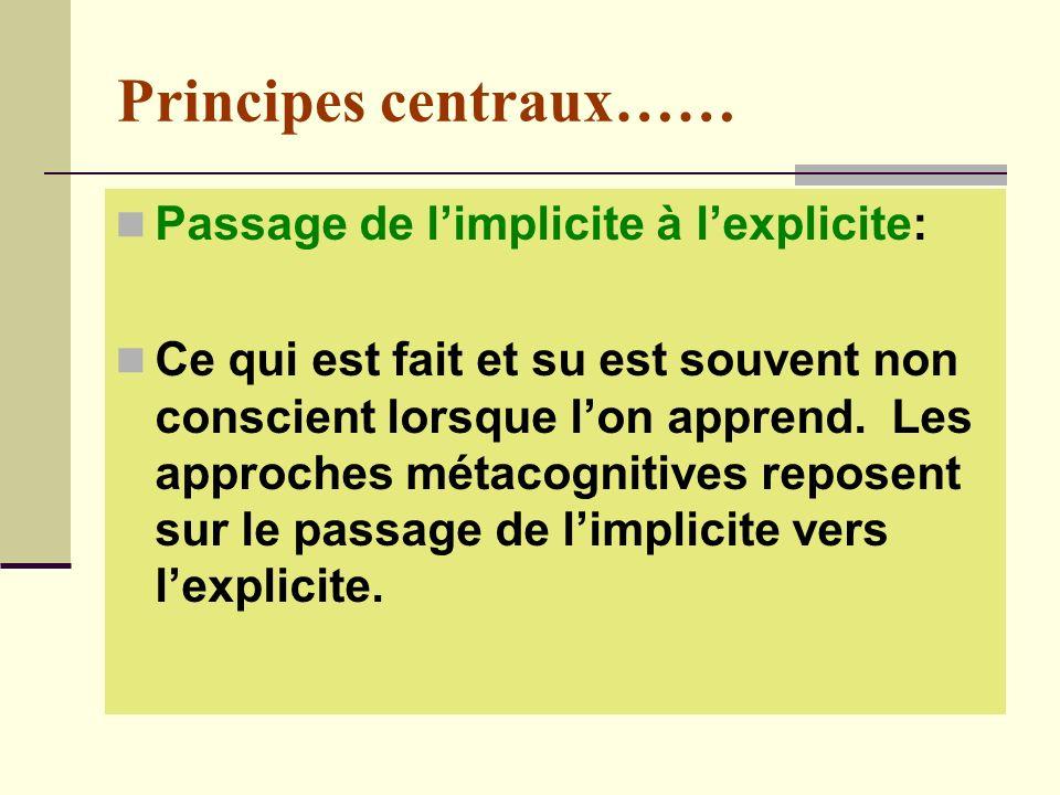 Principes centraux…… Passage de l'implicite à l'explicite: