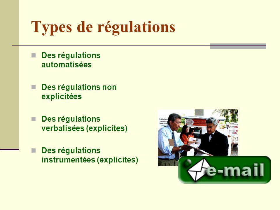 Types de régulations Des régulations automatisées