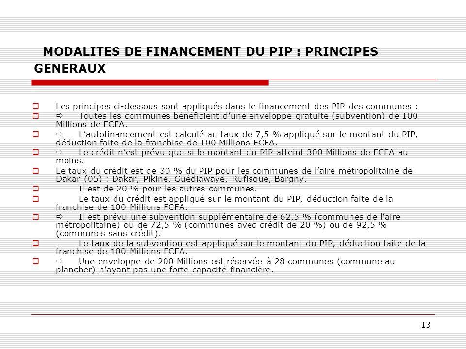 MODALITES DE FINANCEMENT DU PIP : PRINCIPES GENERAUX
