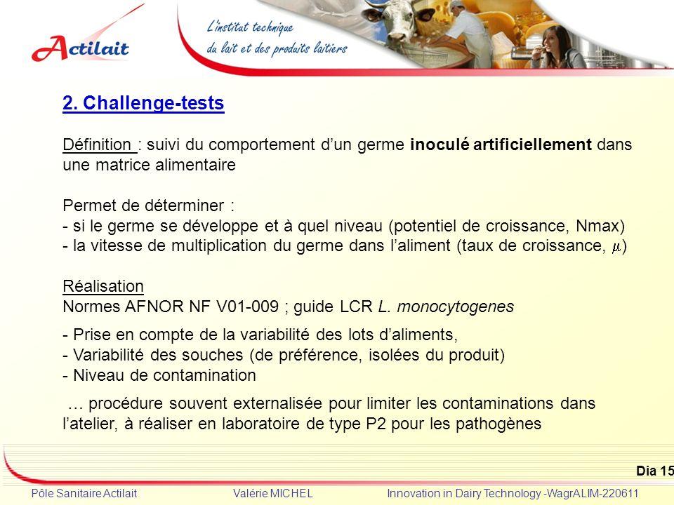 2. Challenge-tests Définition : suivi du comportement d'un germe inoculé artificiellement dans une matrice alimentaire.