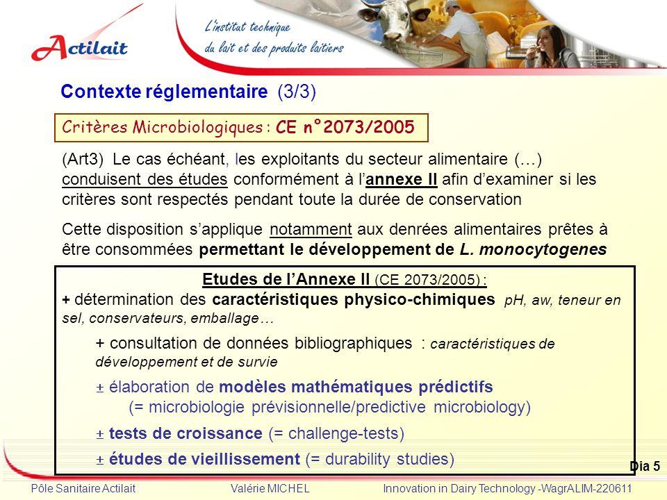 Etudes de l'Annexe II (CE 2073/2005) :