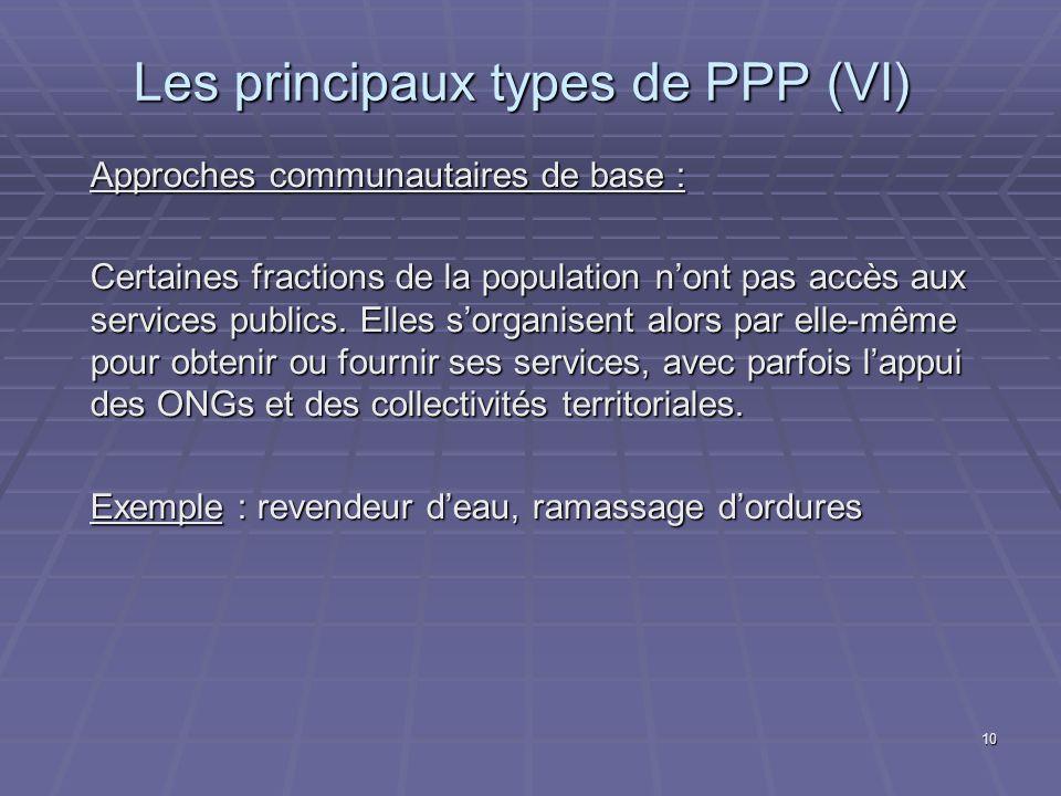Les principaux types de PPP (VI)