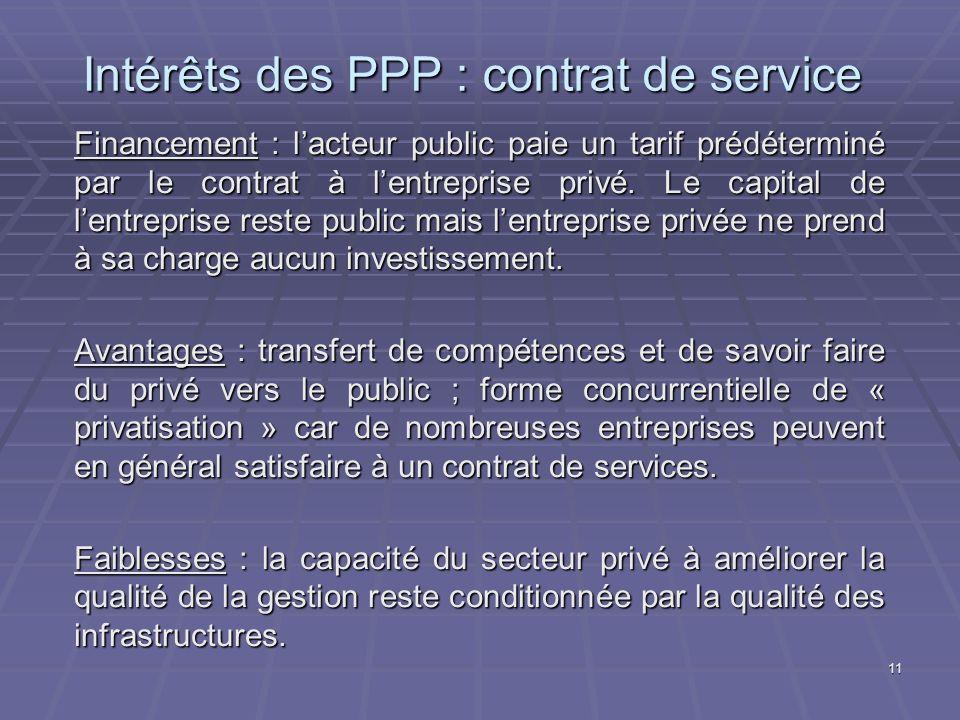 Intérêts des PPP : contrat de service