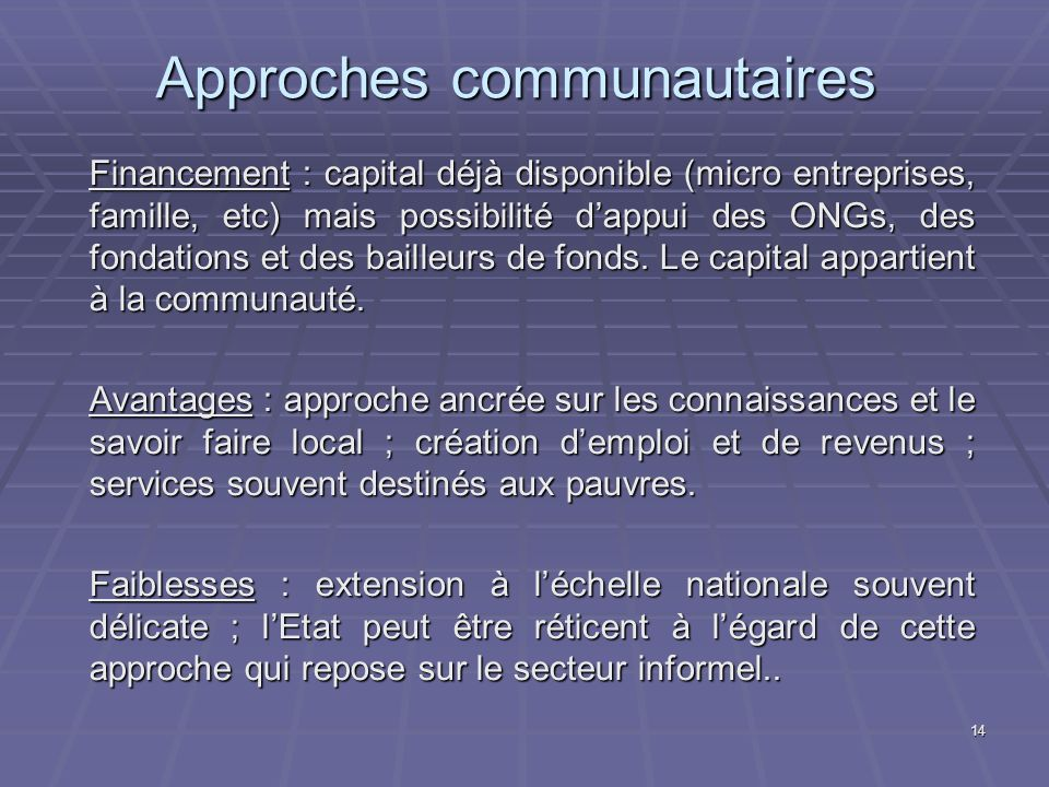 Approches communautaires