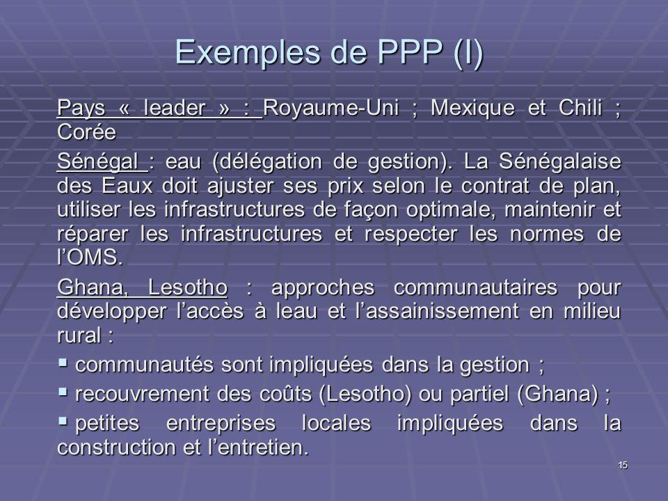 Exemples de PPP (I) Pays « leader » : Royaume-Uni ; Mexique et Chili ; Corée.