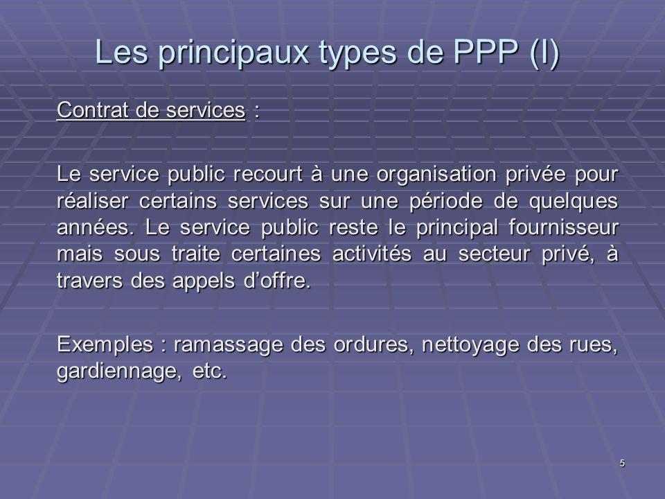 Les principaux types de PPP (I)