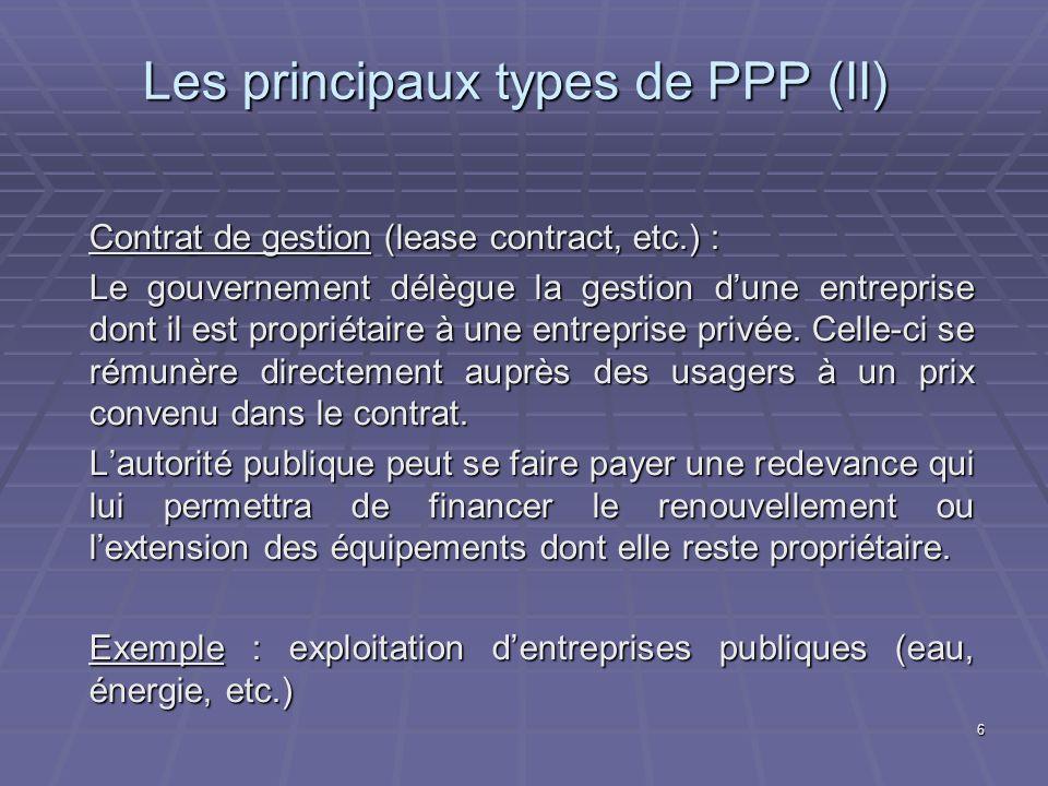 Les principaux types de PPP (II)