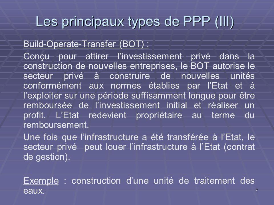 Les principaux types de PPP (III)