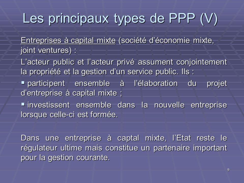 Les principaux types de PPP (V)