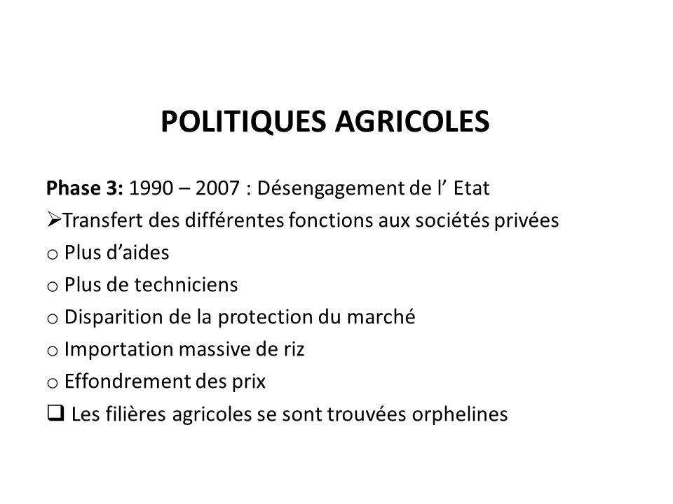 Politiques agricoles Phase 3: 1990 – 2007 : Désengagement de l' Etat