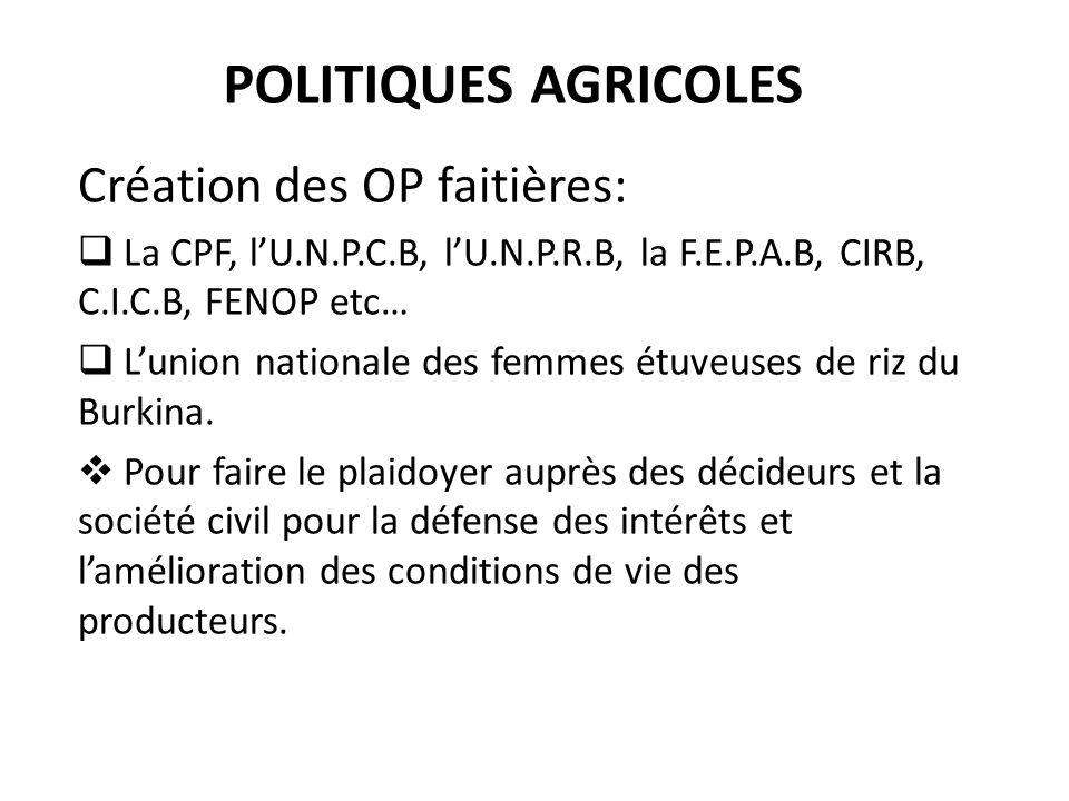 Politiques agricoles Création des OP faitières: