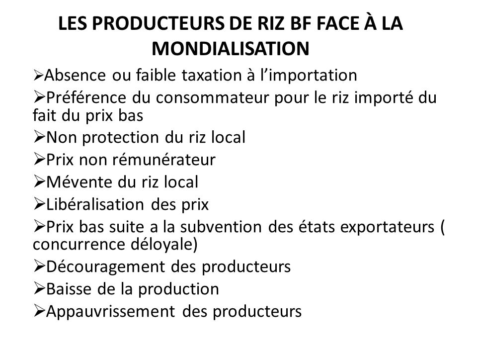 Les Producteurs de Riz BF face à la Mondialisation