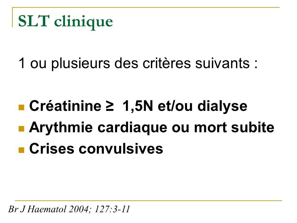 SLT clinique 1 ou plusieurs des critères suivants :
