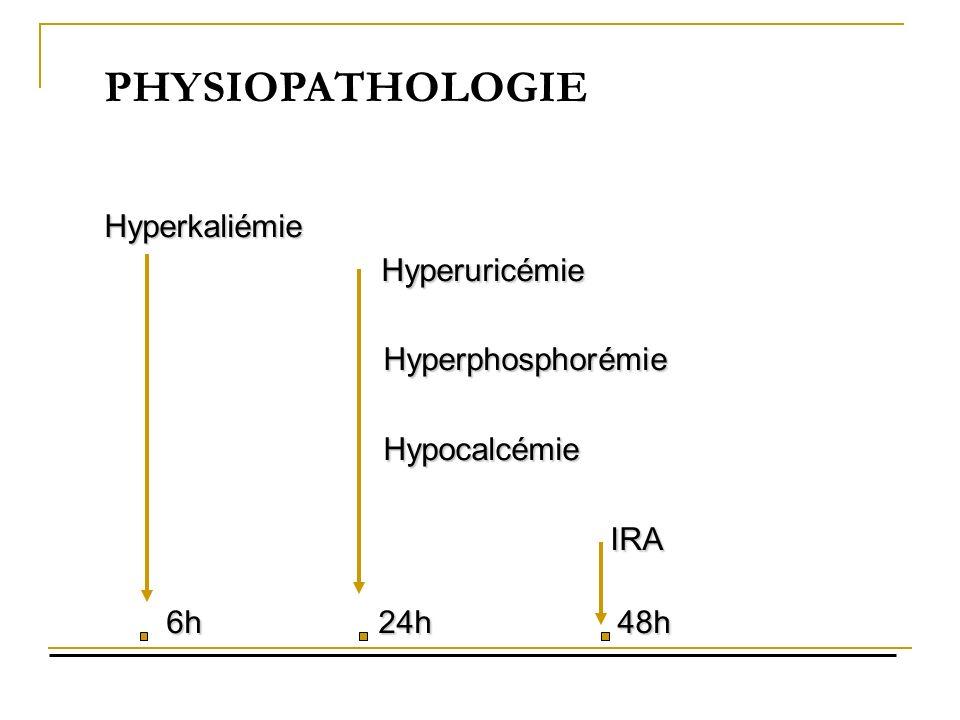 PHYSIOPATHOLOGIE Hyperuricémie Hyperphosphorémie Hypocalcémie IRA