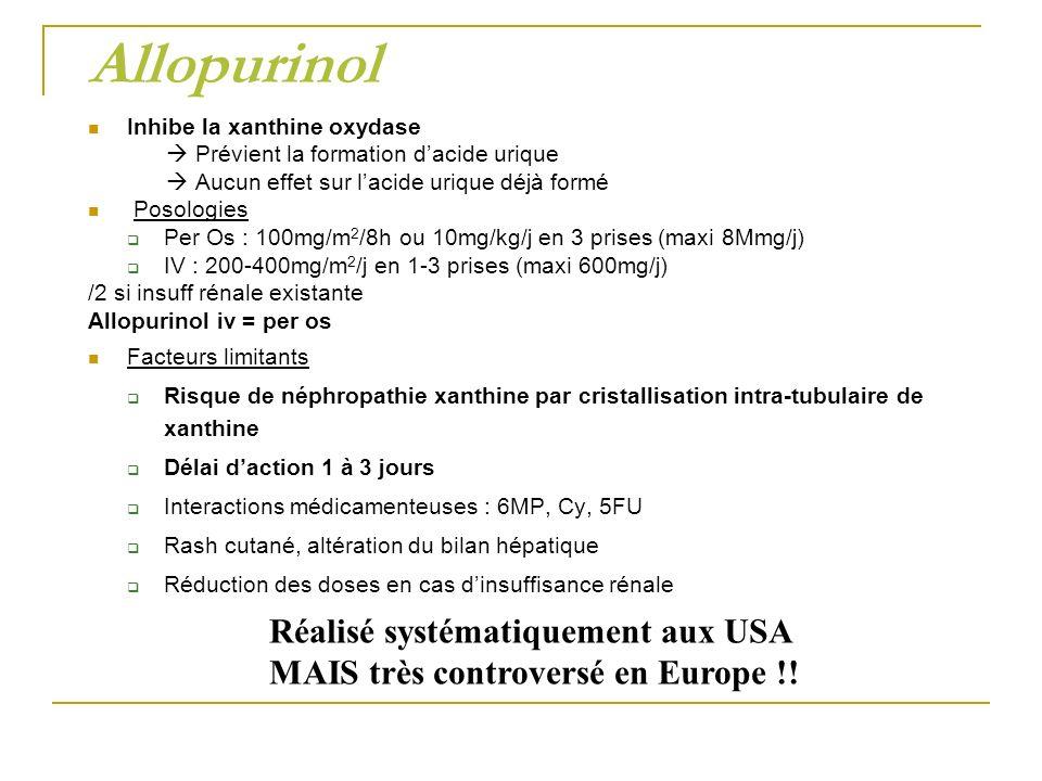 Allopurinol Réalisé systématiquement aux USA