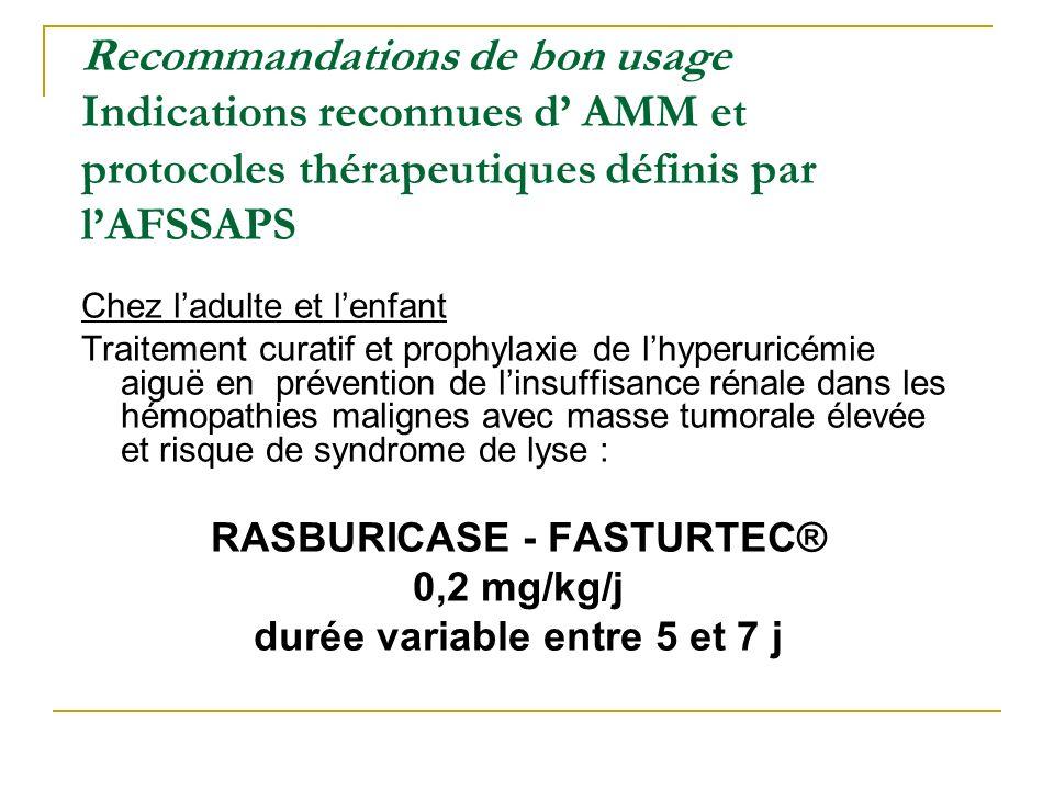 RASBURICASE - FASTURTEC® durée variable entre 5 et 7 j