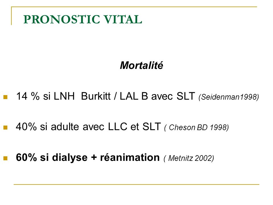PRONOSTIC VITAL Mortalité
