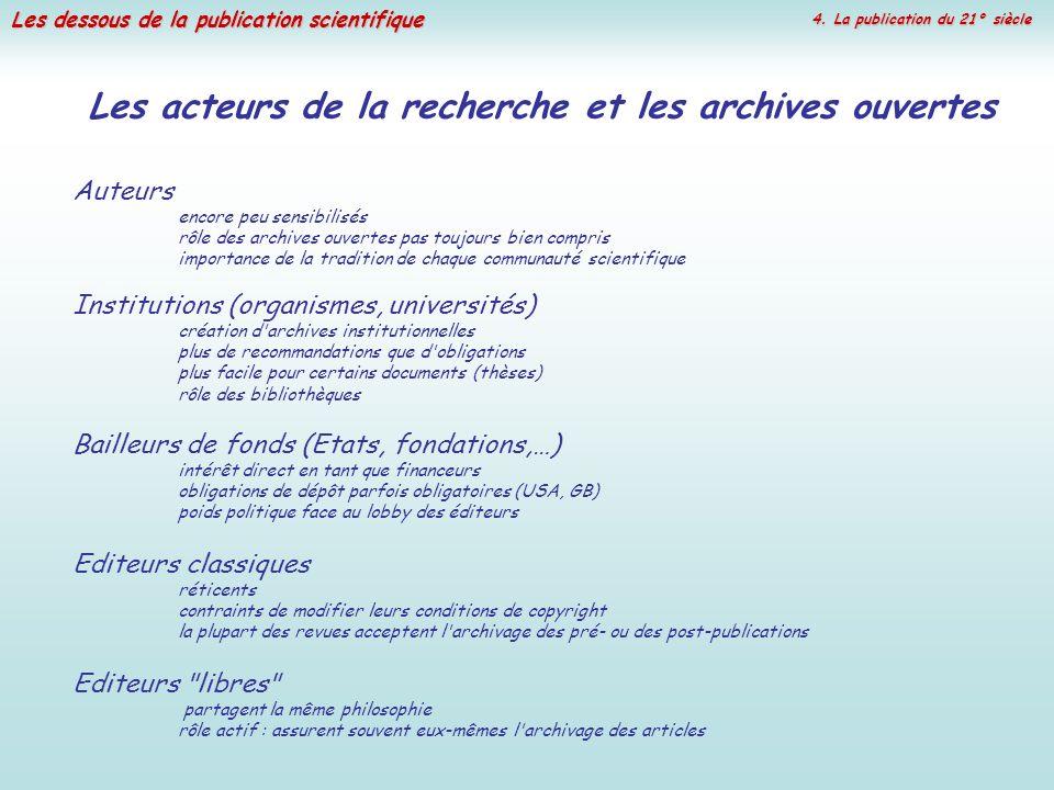 Les acteurs de la recherche et les archives ouvertes
