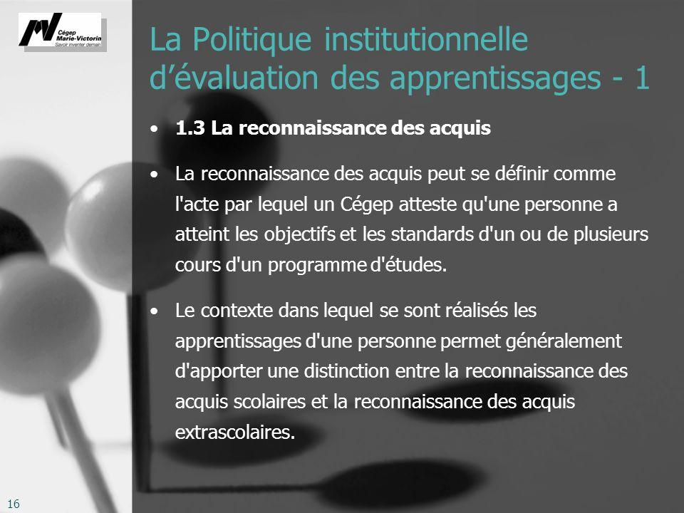 La Politique institutionnelle d'évaluation des apprentissages - 1
