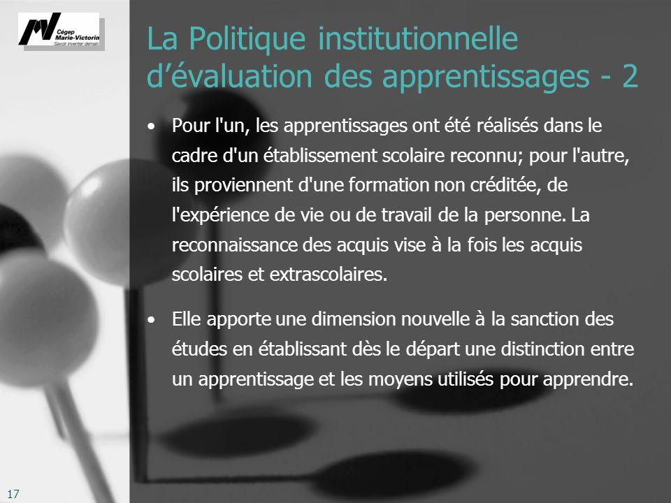 La Politique institutionnelle d'évaluation des apprentissages - 2